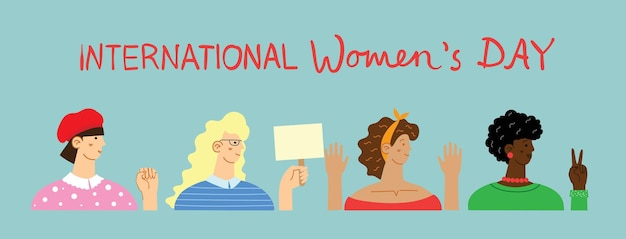 国際婦人デー。立っている女性の多様な国際的および異人種間のグループ。 Premiumベクター