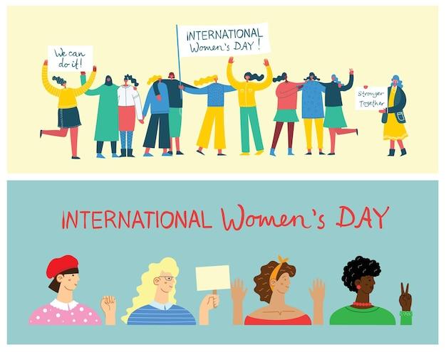 Международный женский день. разнообразная интернациональная и межрасовая группа стоящих женщин.