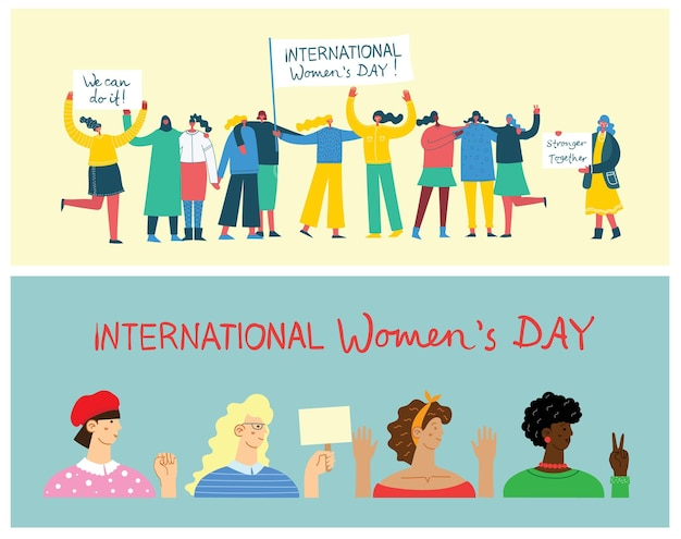 International women's day. diverse international and interracial group of standing women.