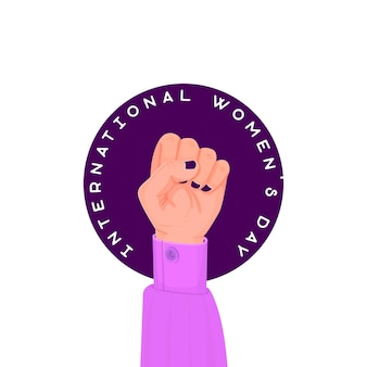 International women's day - female hands white and black holding a banner in a fist