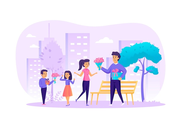 International women's day flat design concept with people characters scene