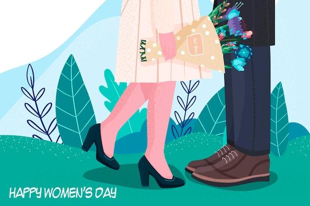 세계 여성의 날. 꽃들. 현대적인 스타일. 손 그리기.