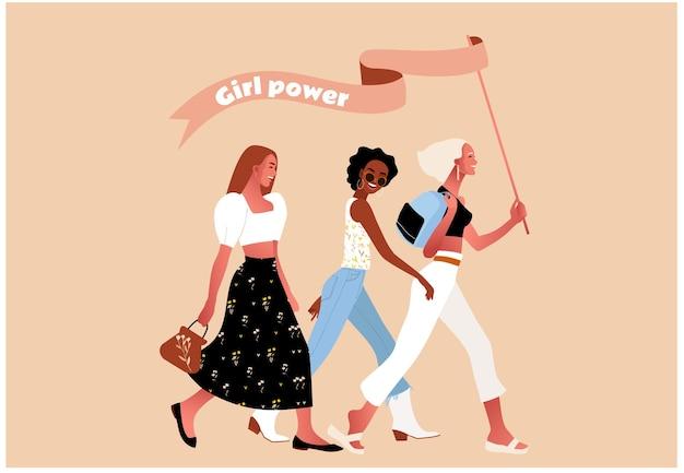 세계 여성의 날. 소녀 파워 또는 페미니스트. 걷는 섹시한 여자.