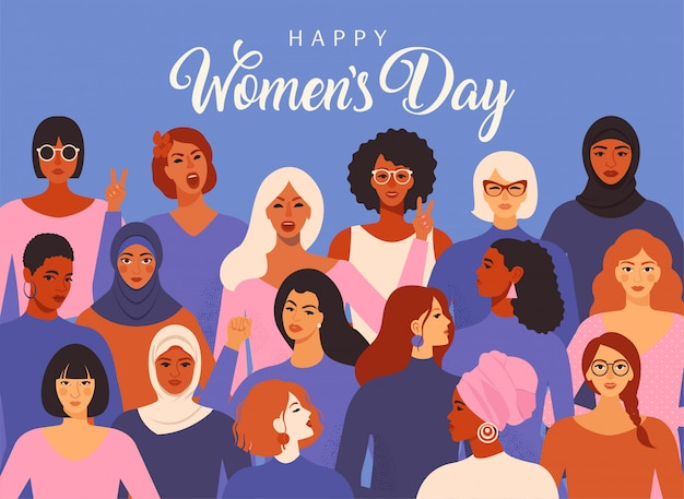 International women s day graphic vector.