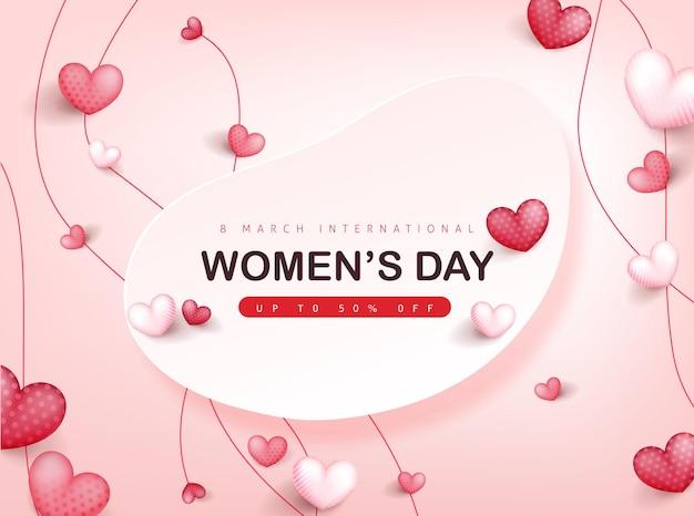 국제 여성의 날 인사말 카드 배너 서식 파일.