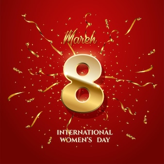 International women's day greeting card template, number eight with sparkling gold ribbons and confetti on red background.