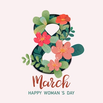 International women's day greeting card with 8 and floral decorations