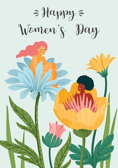 International women s day greeting card with women and flowers