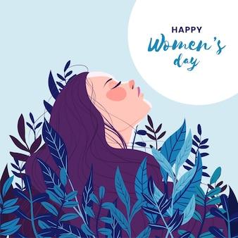 Международный женский день рисованной иллюстрированный