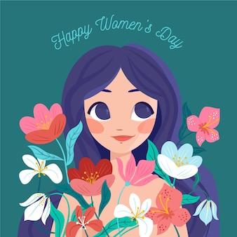Международный женский день рисованной иллюстрации