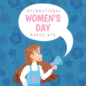 国際女性の日手描き