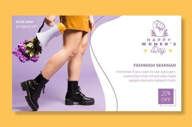 Международный женский день горизонтальный баннер Бесплатные векторы