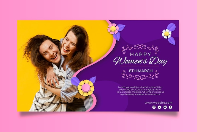 International women's day horizontal banner