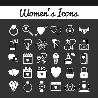 Womens day icons set