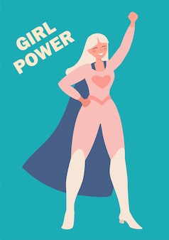 International women's day.  illustration of a girl in a superhero costume. the struggle for freedom, independence, equality.