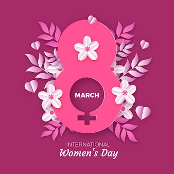 International women's day illustration with female symbol and flowers