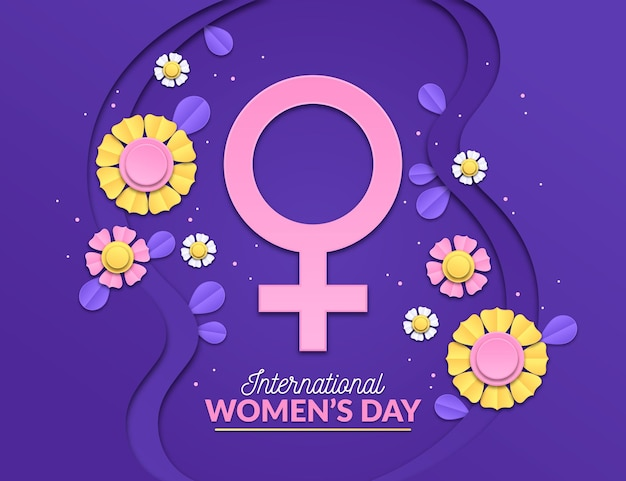 International women's day illustration with flowers and female symbol
