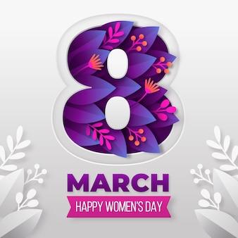 Международный женский день иллюстрация в бумажном стиле с цветами и листьями