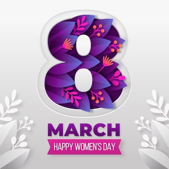 International women's day illustration with in paper style with flowers and leaves