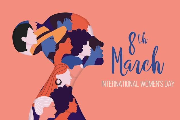 Международный женский день иллюстрация с профилем женщины