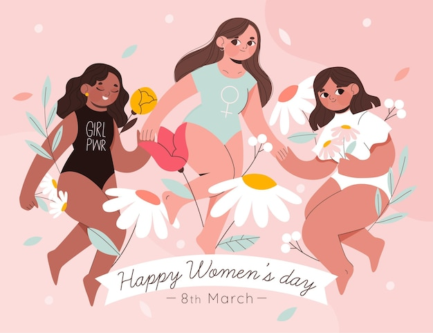 International women's day illustration with three women and flowers