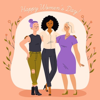 International women's day illustration with three women