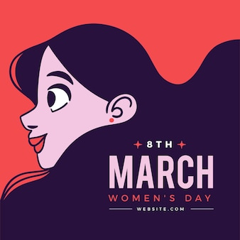 International women's day illustration with woman in profile view