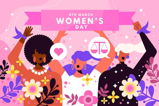 International women's day illustration with women and flowers