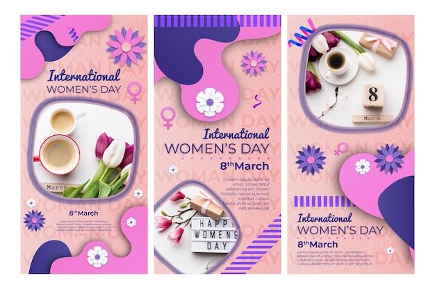 Set di storie di instagram per la giornata internazionale della donna
