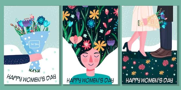 세계 여성의 날. 3 월 8 일. 독립, 평등. 여자들.