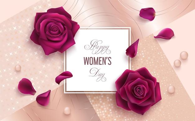 Международный женский день 8 марта реалистичная иллюстрация