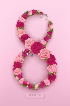 3月8日の国際女性の日。数字の8の形をしたバラと真珠。