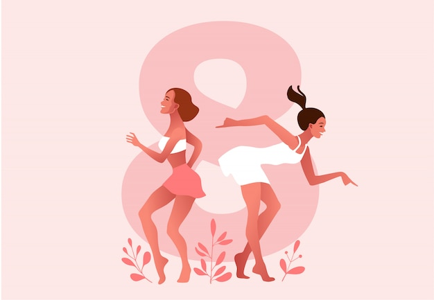 International women's day. march. women dancing