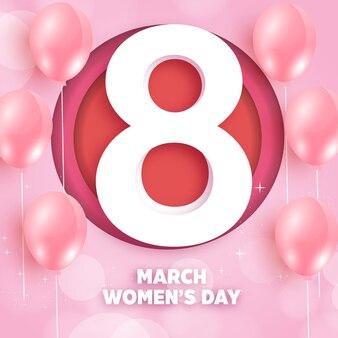 International women's day in paper cut style.