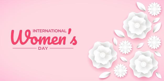 国際女性デーの紙のスタイルの花のバナー