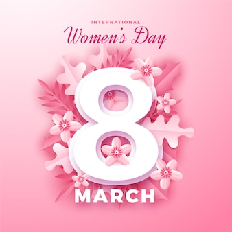 International women's day in paper style