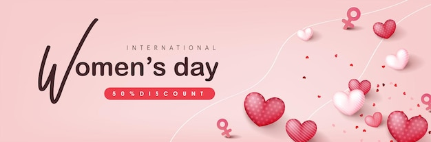 Шаблон баннера для продажи в международный женский день.