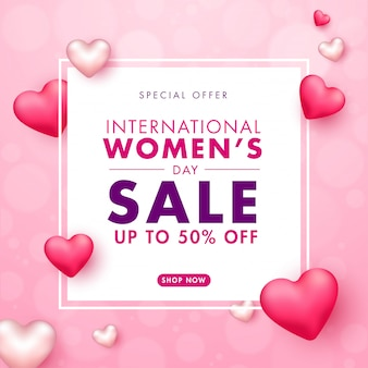International women's day sale poster design with 50% discount offer and glossy hearts decorated on pink blurred background.