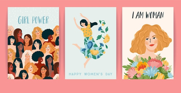 International women s day. set of cards, women different nationalities and cultures. struggle for freedom, independence, equality.