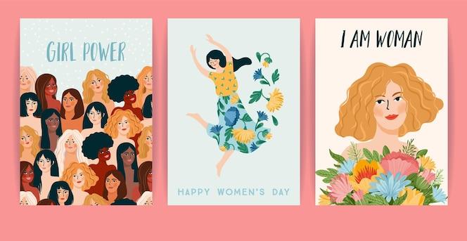 Международный женский день. набор карт, женщин разных национальностей и культур. борьба за свободу, независимость, равенство.