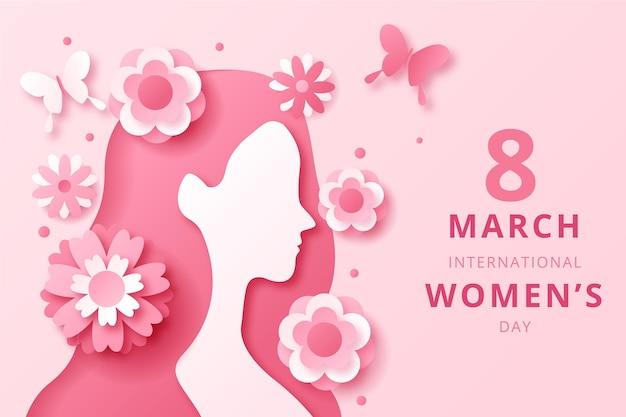Международный женский день сбоку в бумажном стиле
