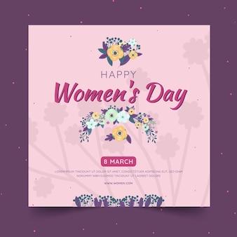 花と国際女性の日の正方形のチラシテンプレート