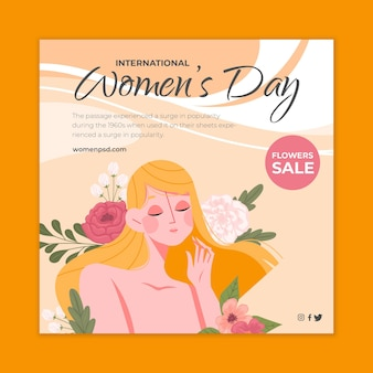 International women's day square flyer template with woman and flowers