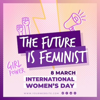 International women's day square flyer template