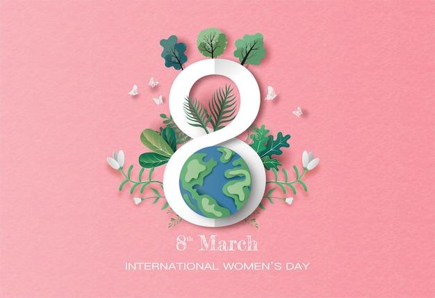 Международный женский день, земля с номером 8 и фон растений в бумажной иллюстрации, бумага.
