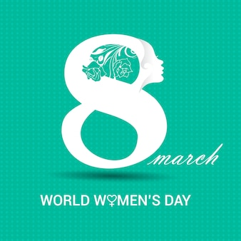International women's day, turquoise background with a white 8