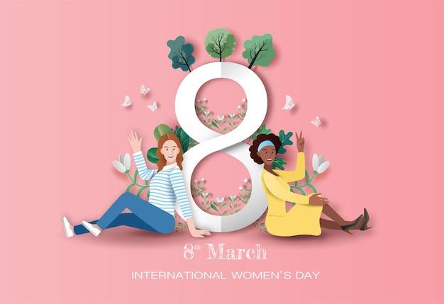 Международный женский день, две счастливые женщины, сидящие с фоном цветов в бумажной иллюстрации.