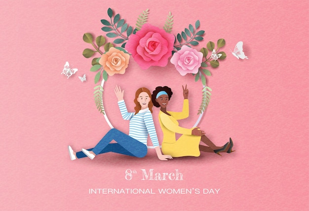 International women's day, two happy women sitting with flowers background in paper illustration.