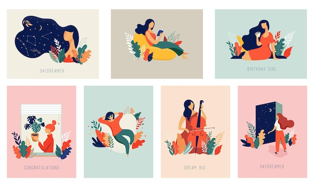 세계 여성의 날. 여자, 잎, 꽃 벡터 카드 컬렉션