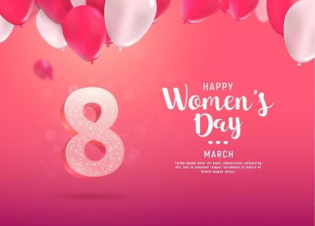 국제 여성의 날 벡터 일러스트 레이 션. 행진의 여덟. 밝은 분홍색 배경에 풍선에 8 번 비행
